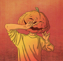 Man With Jack-o'-lantern Halloween Pumpkin Head Illustration