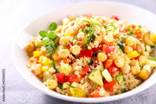 Fotografia, Obraz vegetarian salad with semolina and vegetables