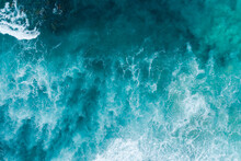 Aerial Views Over Crashing Sea Waves On Rocking Ocean Crop
