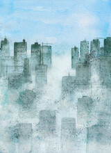 City In Smog, A Watercolour Painting