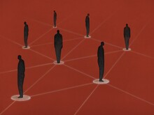 Illustration Of Silhouettes Of Human Figures. People Keep Their Distance. Social Distancing Concept