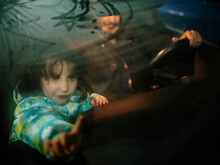 Kid And Father Inside A Car With Steamy Windows