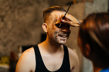 Model Make Up Prepared For Theater Zombie Act