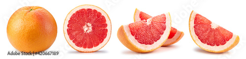 Grapefruit set. Grapefruit clipping path. Organic fresh grapefruit isolated on white.