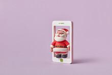 Plasticine Christmas Santa Claus In A Smatrphone Frame.