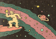 Ape Throwing Stars In The Universe Illustration