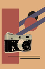 Poster With Vintage Film Camera
