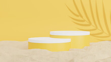 3d Render Of Yellow Podium With Sand For Product Display