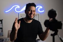Man Recording Himself Video At Home Studio