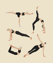 Illustration Of Women Practicing Yoga. Isolated Girls In Different Yoga Poses. Healthy Lifestyle.