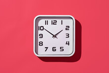 Clock On A Red Background