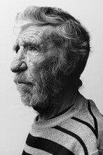 Bearded Old Man On A White Background