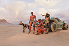 Futuristic Soldiers With Robot Dog Cyborg And Jeep In Desert Pointing