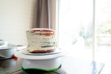 Partially Frosted Homemade Layer Cake