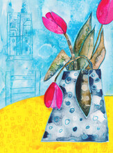 Blue Vase And Pink Tulips, A Watercolour And Wax Crayon Painting