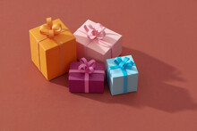 Little Colorful Handmade Gift Boxes On Color Background