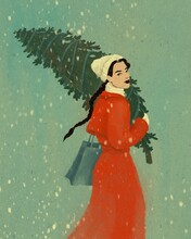 Women With Christmas Tree