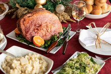 Christmas Holiday Ham Dinner With Side Dishes