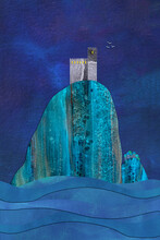 Castlerock At Night, A Watercolour Collage
