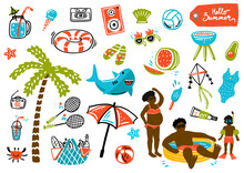 Summer Design Elements And A Set Of Props For A Photo Studio. Palm Tree, Ice Cream, Inflatable Shark Circle, Glasses, Negroes, Children's Pool. Cartoon. Hand Drawing. Vector Illustration