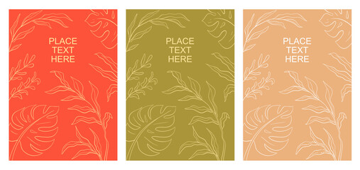 Vector set of  creative backgrounds of leaves in minimal pastel contemporary colours.