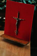 Messing Cross With Jesus On A Velvet Red Frame