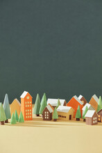 Houses Made Of Paper With The Trees
