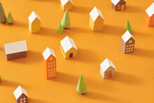 Seamless Pattern Of Miniature Town With Tree And Building
