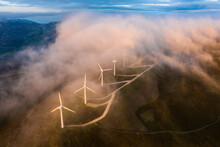 Wind Farm In A Cloud From Above