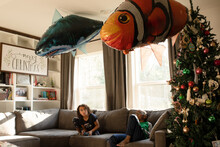 Huge Clownfish And Shark Balloon Fish On Ceiling