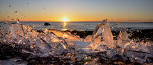 Ice Fragment And Finland Sunset