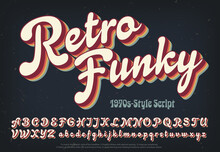 Retro Funky Is A Soft And Plump 1970s Style Script Alphabet With Rainbow Colored Multi Shadow Layers.