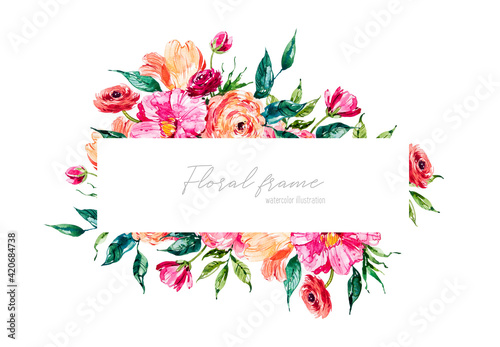 Obraz na płótnie Watercolor floral frame with pink peonies, ranunculus and tulips