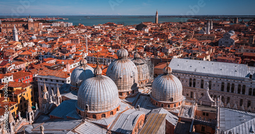 Obraz na plátně view from the top of Campanile di San Marco in the morning