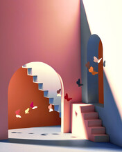 Staircase With Steps, With Butterflies On Background Of Vintage Bright Room