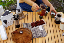 Making Coffee, Picnic Life Outdoors On Weekends