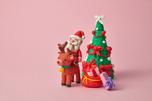 Craft Plasticine Santa Claus Ride A Deer With Gifts.
