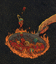 Solar System Planets Cooking In A Pan Illustration