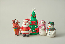 Plasticine Figures Of Traditional Christmas Characters.