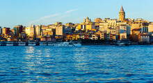 View To Galata District Across Bay Of Golden Horn. Turkey