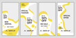 Set of 4 social media story layouts with fresh yellow and white color combination. Template design for business story (fashion, beauty): new arrival, new collection, etc. Vector illustration
