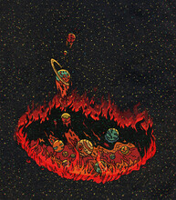 Planets Jumping Out Of Circle Of Fire And Lava