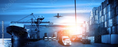 Fotografia Container truck in ship port for business Logistics and transportation of Contai