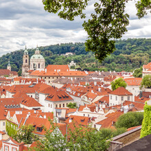 Prague Old Town View With Red Tiled Roofs