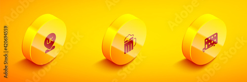 Carta da parati Set Isometric Location England, Wooden beer mug and Double decker bus icon