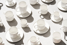 Empty Cups And Saucers In Morning