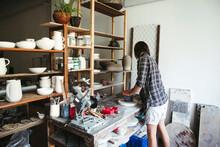 Female Artisan Makes Ceramic Products.