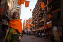 European Woman Posing Outdoor In Mumbai