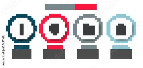 Fototapeta Set Tabasco sauce, Aztec mask, Mexican house and wrestler. Business infographic template. Vector obraz