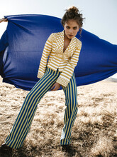 Yellow Blue Stripes Fashion